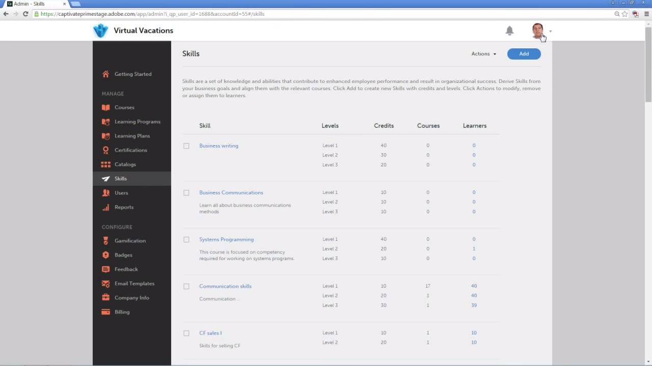 Просмотр набора компетенций в образовательном программном обеспечении  Adobe Captivate Prime