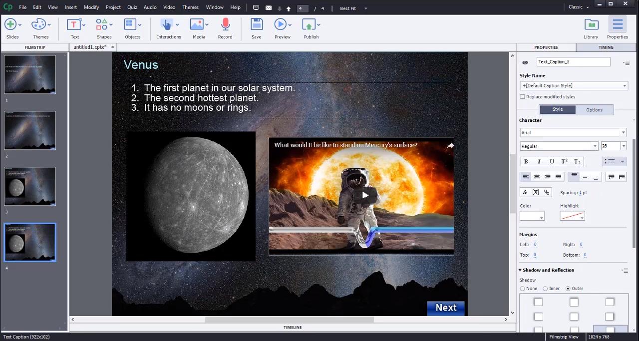 Создание учебных материалов в Системе управления учебным контентом Adobe Captivate