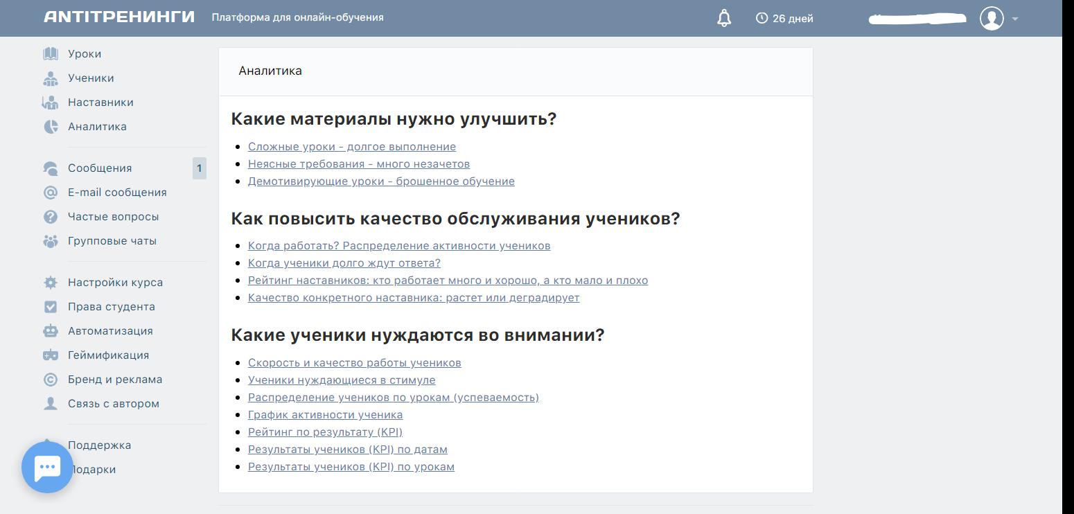 Инструменты для аналитики онлайн-курсов в системе дистанционного обучения АнтиТренинги