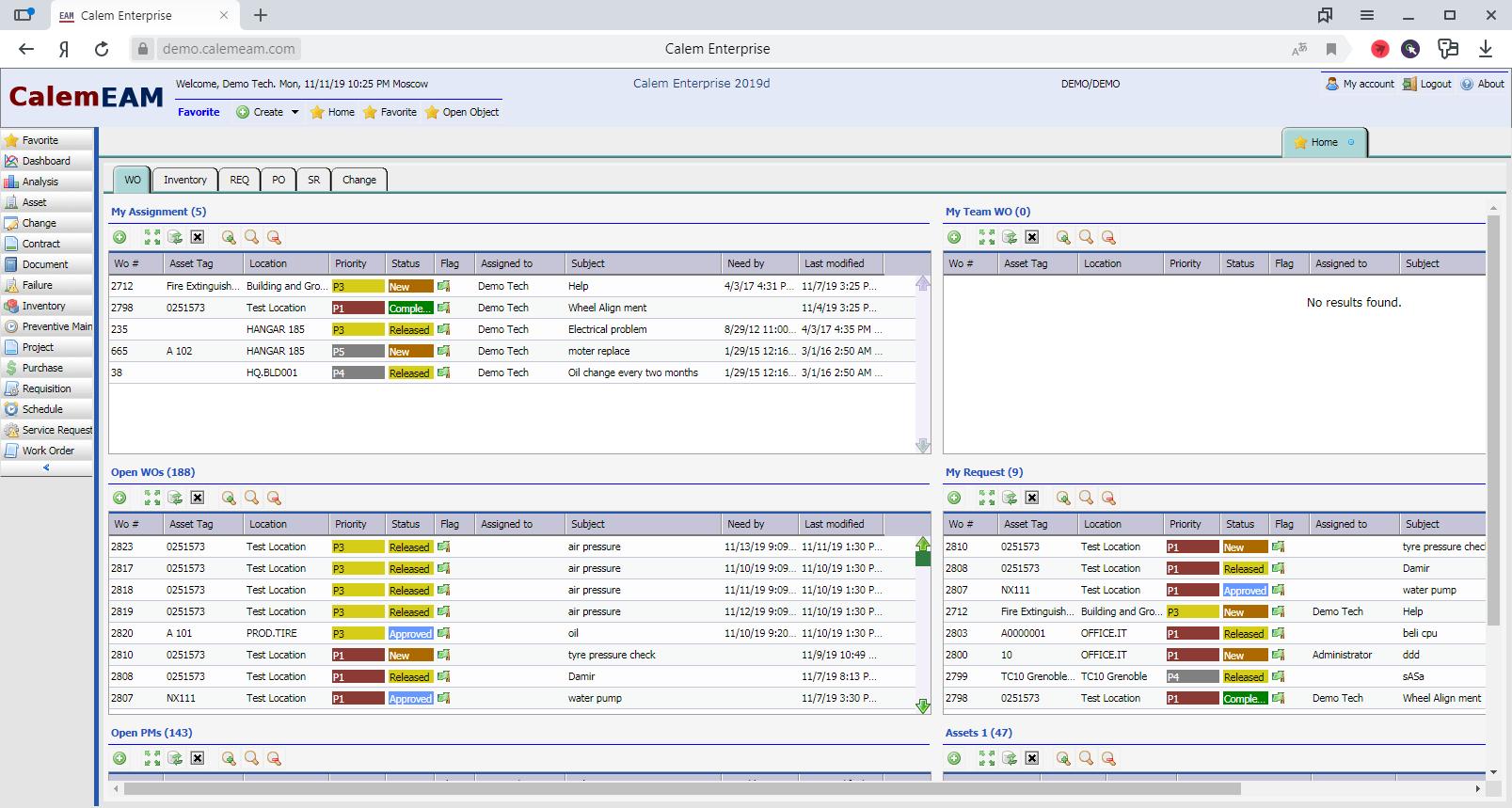 Просмотр информации о нарядах на работы в системе управления активами предприятия CalemEAM