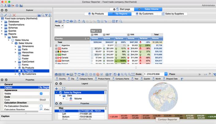 Информационная панель с бизнес-данными в системе бизнес-аналитики Contour BI