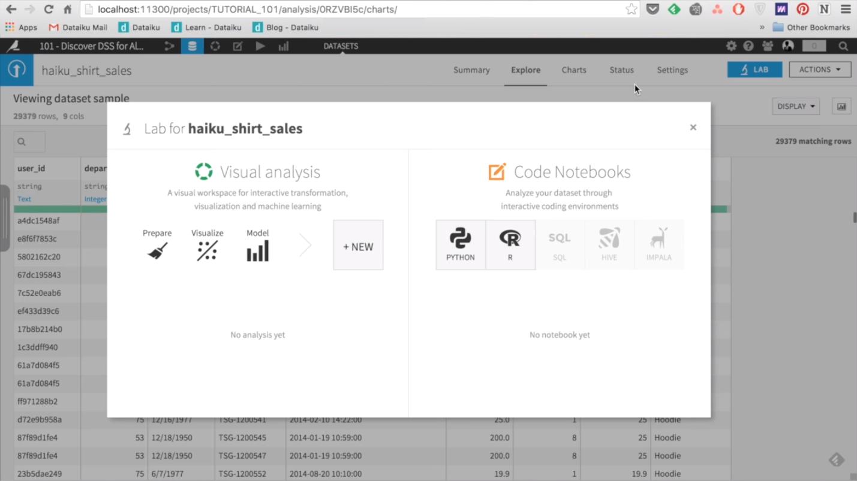 Выбор аналитических инструментов в программной платформе Dataiku DSS