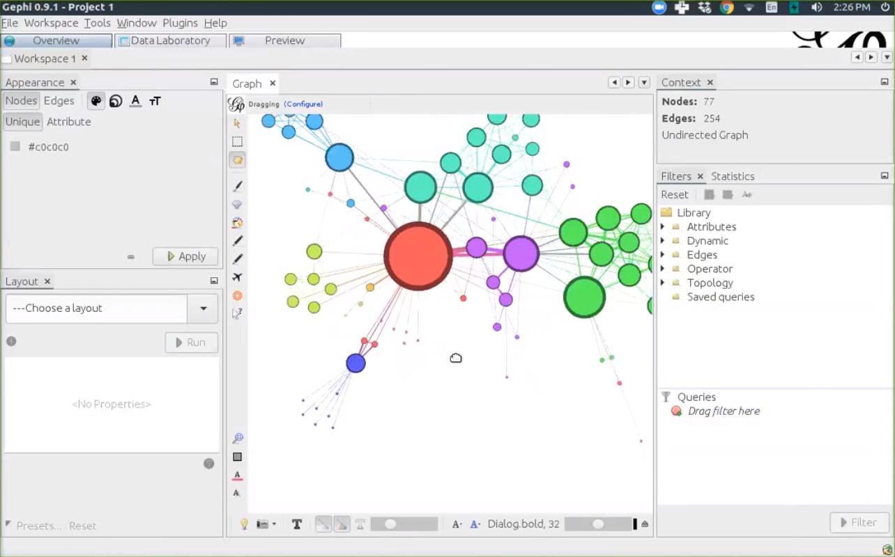 Аналитика и создание сетевой модели в программном продукте Gephi