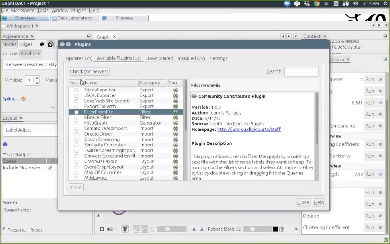 Применение аналитическох дополнений в программном обеспечении Gephi