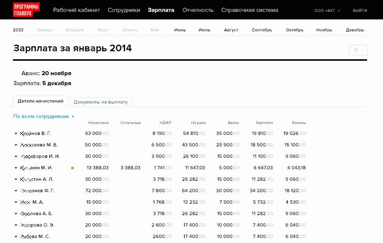 Просмотр начислений по зарплате в системе кадрового администрирования Главбух: Зарплата и кадры