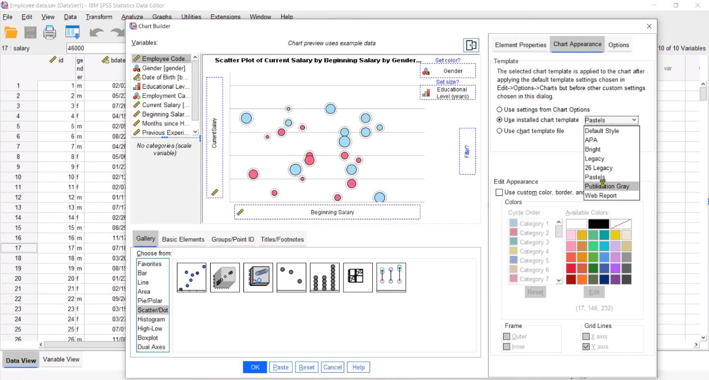 Конструктор построения графиков и диаграмм в аналитической программной системе IBM SPSS Statistics