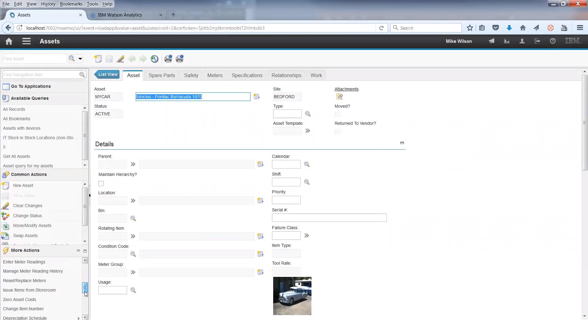 Просмотр электронного формуляра оборудования в EAM-системе IBM Maximo