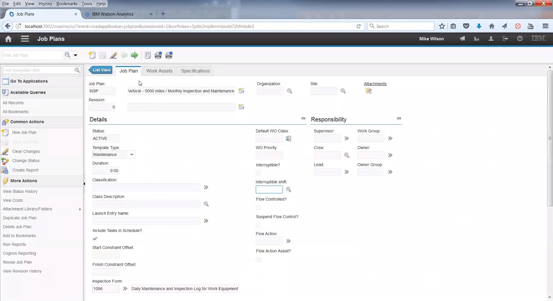 План работ ТОиР в системе управления активами предприятия IBM Maximo