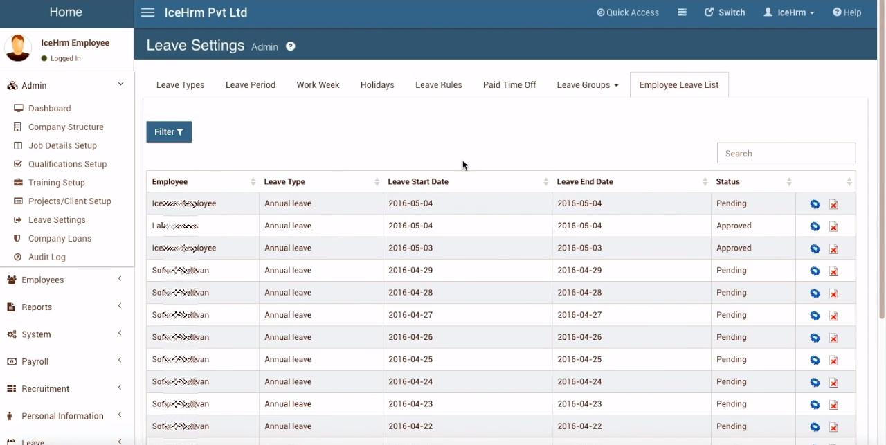Отпуска персонала в программном обеспечении с открытым исходным кодом для HRM IceHrm