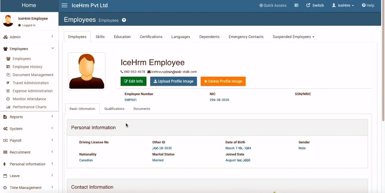 Карточка сотрудника в программном продукте для управления персоналом IceHrm