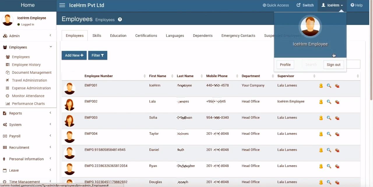 Список сотрудников компании в системе кадрового администрирования IceHrm