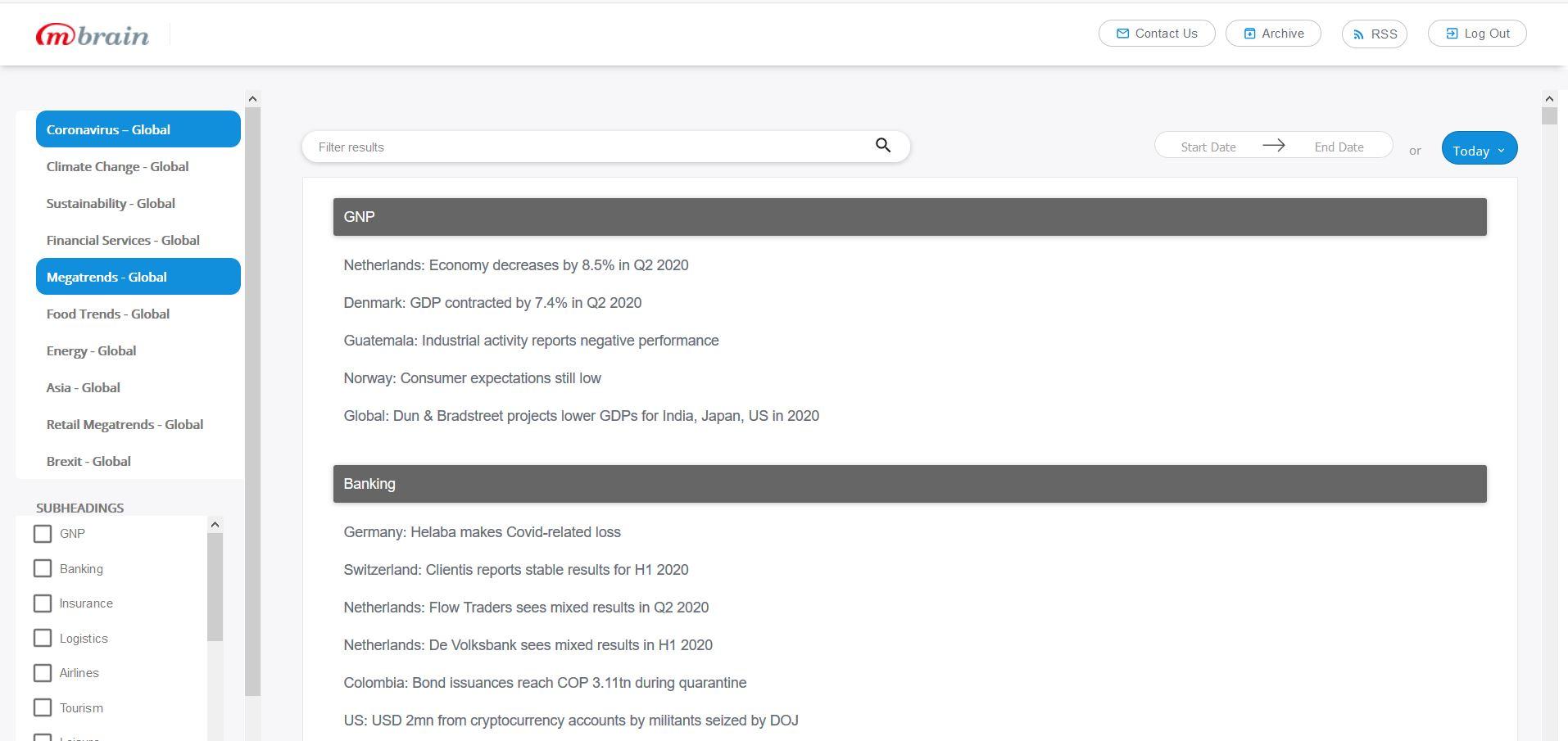 Главная станица информационно-аналитического портала Industry Insights Portal от компании M-Brain
