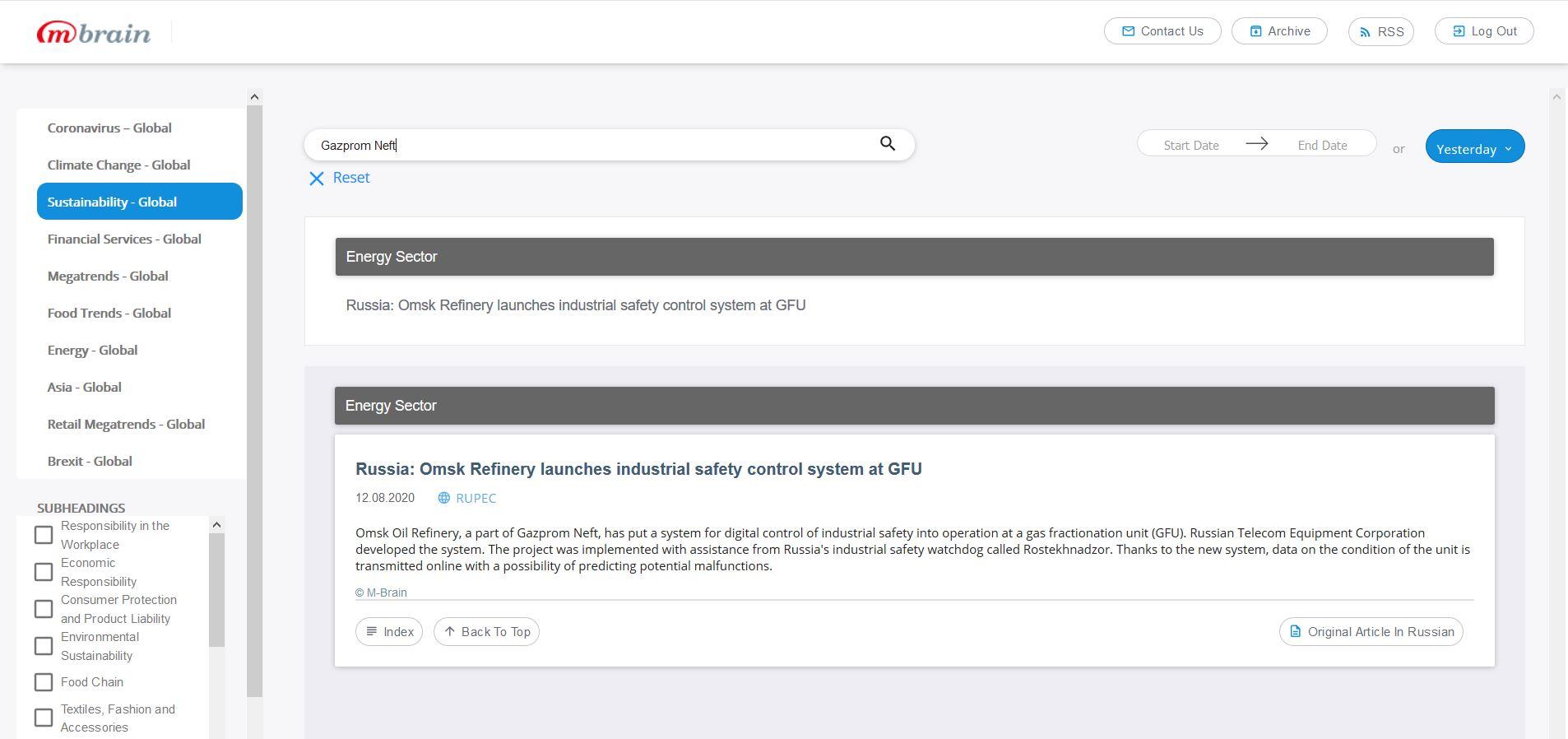 Поиск сообщений с упоминанием компании (ключевого слово) в выбранной теме в онлайн-сервисе Industry Insights Portal