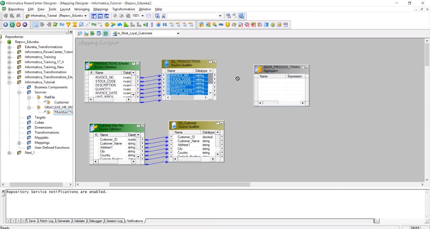Построение процедуры обработки данных в программном обеспечении Informatica PowerCenter Designer