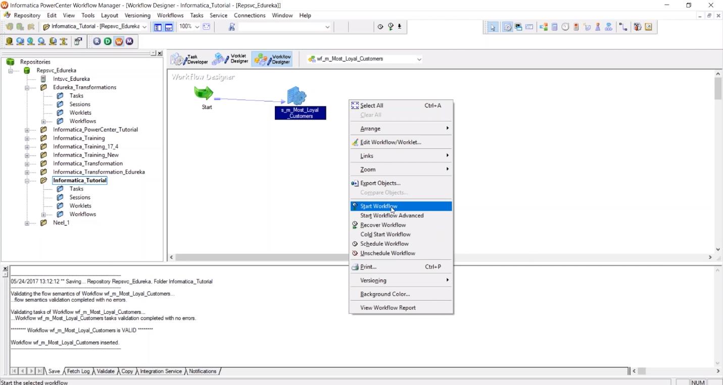 Моделирование потоков обработки данных в аналитической системе Informatica PowerCenter Workflow Manager