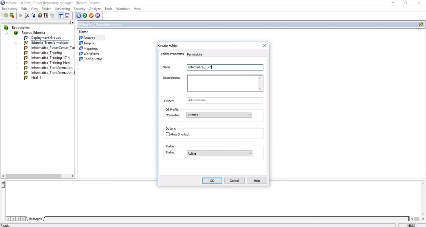 Создание новой модели в системе обработки данных Informatica PowerCenter Repository Manager