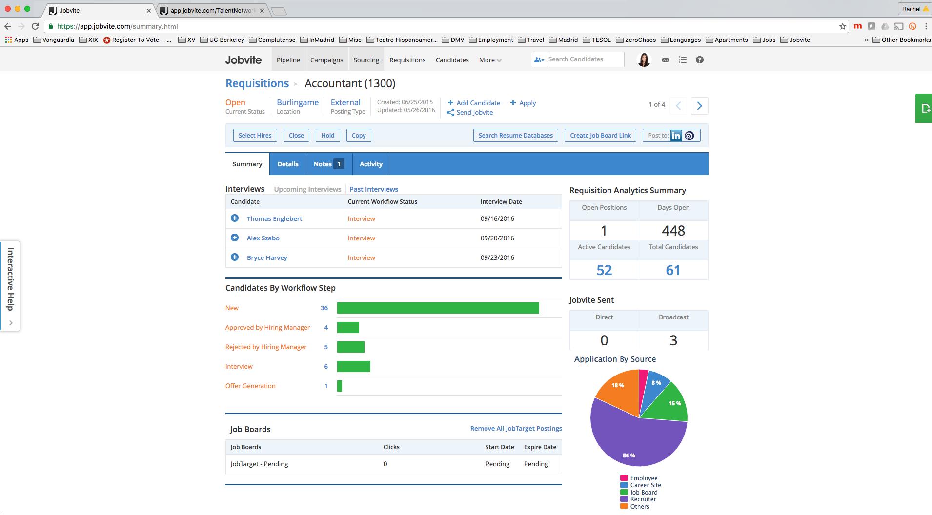 Общая информация по вакансии (проекту) в программном обеспечении для рекрутеров Jobvite