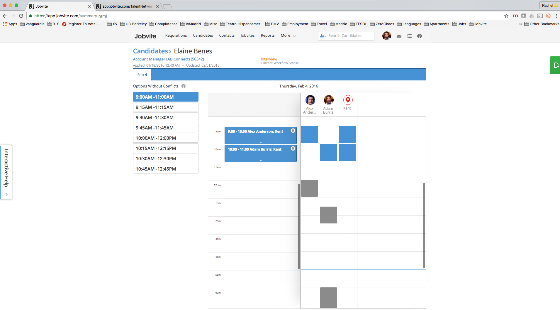 Работа с календарём собеседований и событий по подбору персонала в программном продукте Jobvite