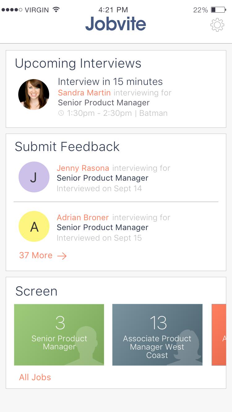 Панель управления с основной рекрутинговой информации в мобильном приложении Jobvite Hiring Team