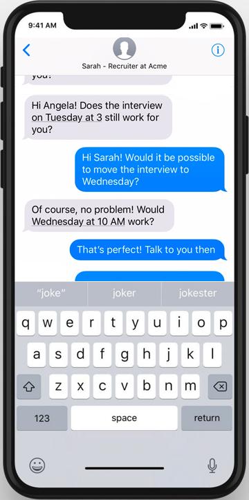 Автоматическое взаимодействие с кандидатом HR чат-бота Jobvite для согласования собеседований