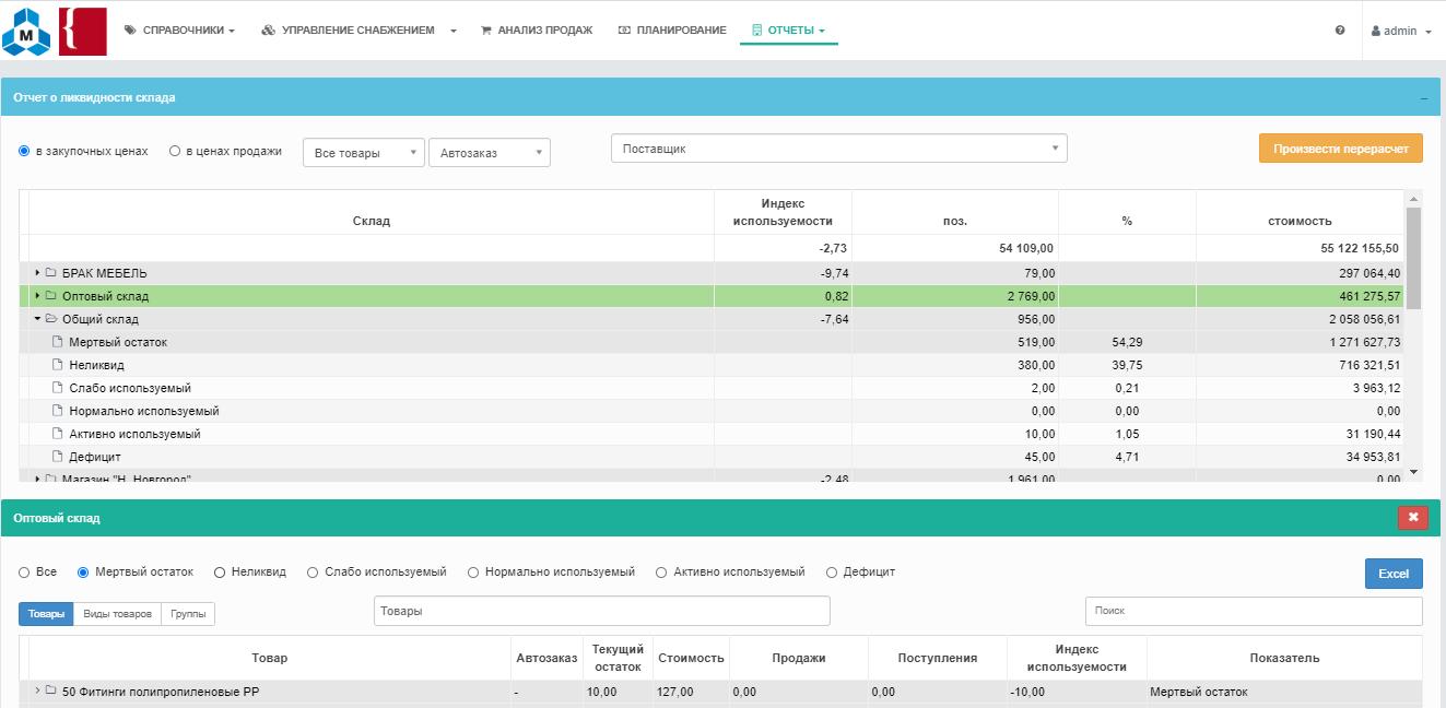 Построение отчёта о ликвидности склада в логистическом сервисе КОРУС | Управление запасами