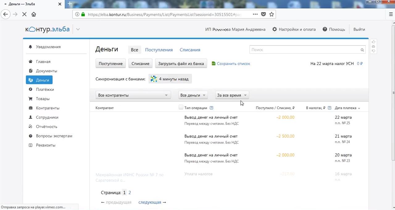 Данные о движении денег индивидуального предпринимателя в финансовом сервисе Контур.Эльба