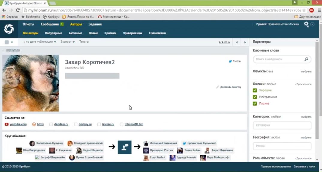 Анализ информации об авторе сообщения в системе мониторинга социальных сетей и СМИ Крибрум
