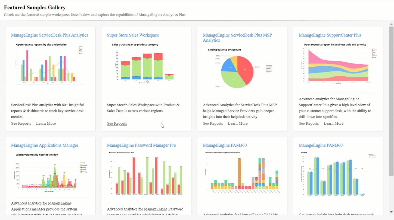 Выбор инструментов в библиотеке аналитических шаблонов в программном продукте ManageEngine Analytics Plus
