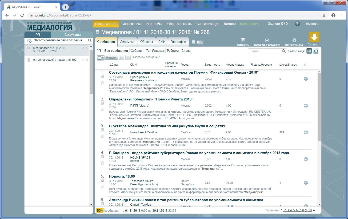 Аналитическая работа с сообщением в программном продукте для PR Медиалогия Мониторинг СМИ