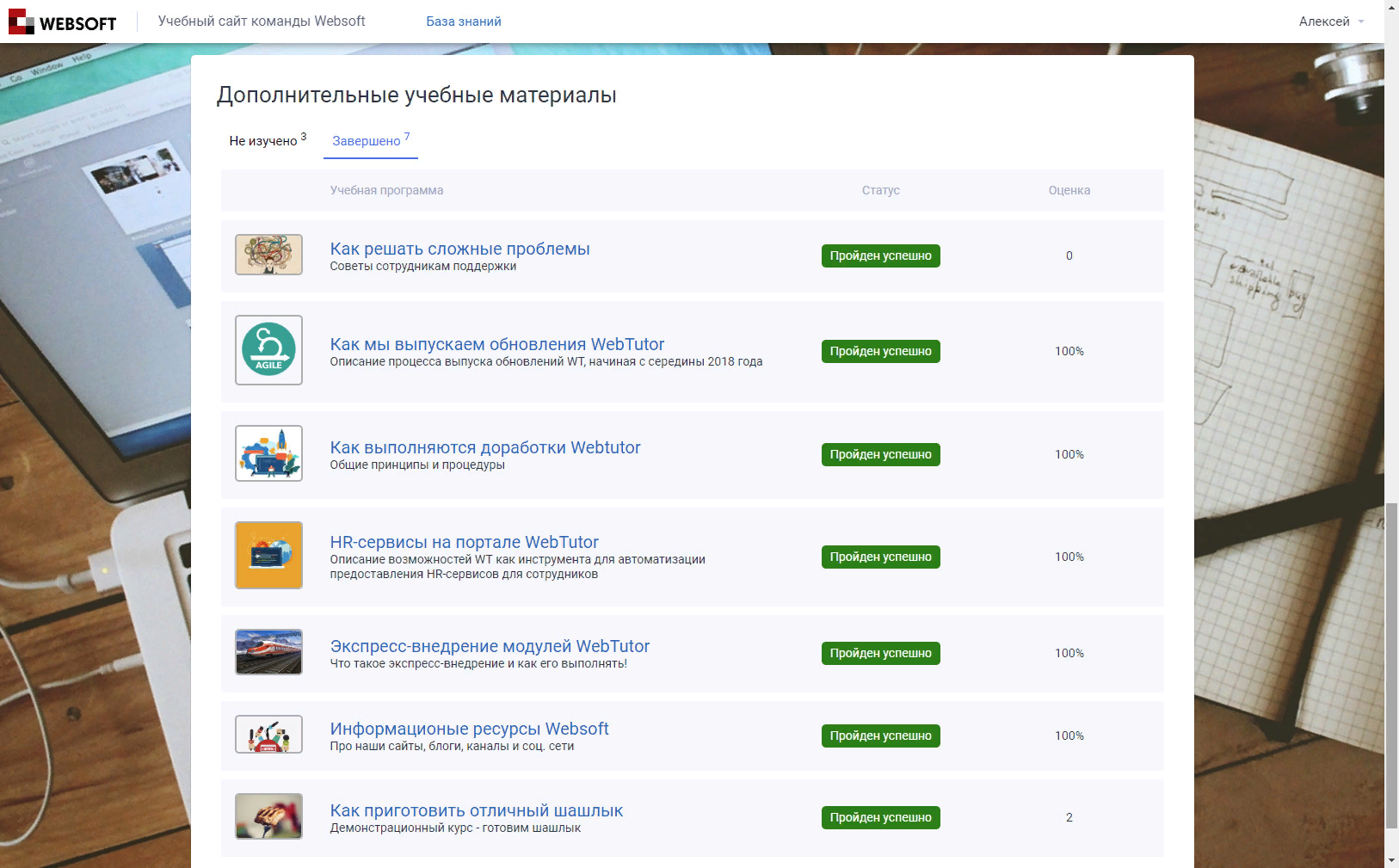 Просмотр дополнительных учебных материалов в системе электронного обучения (E-Learning) MyLMS
