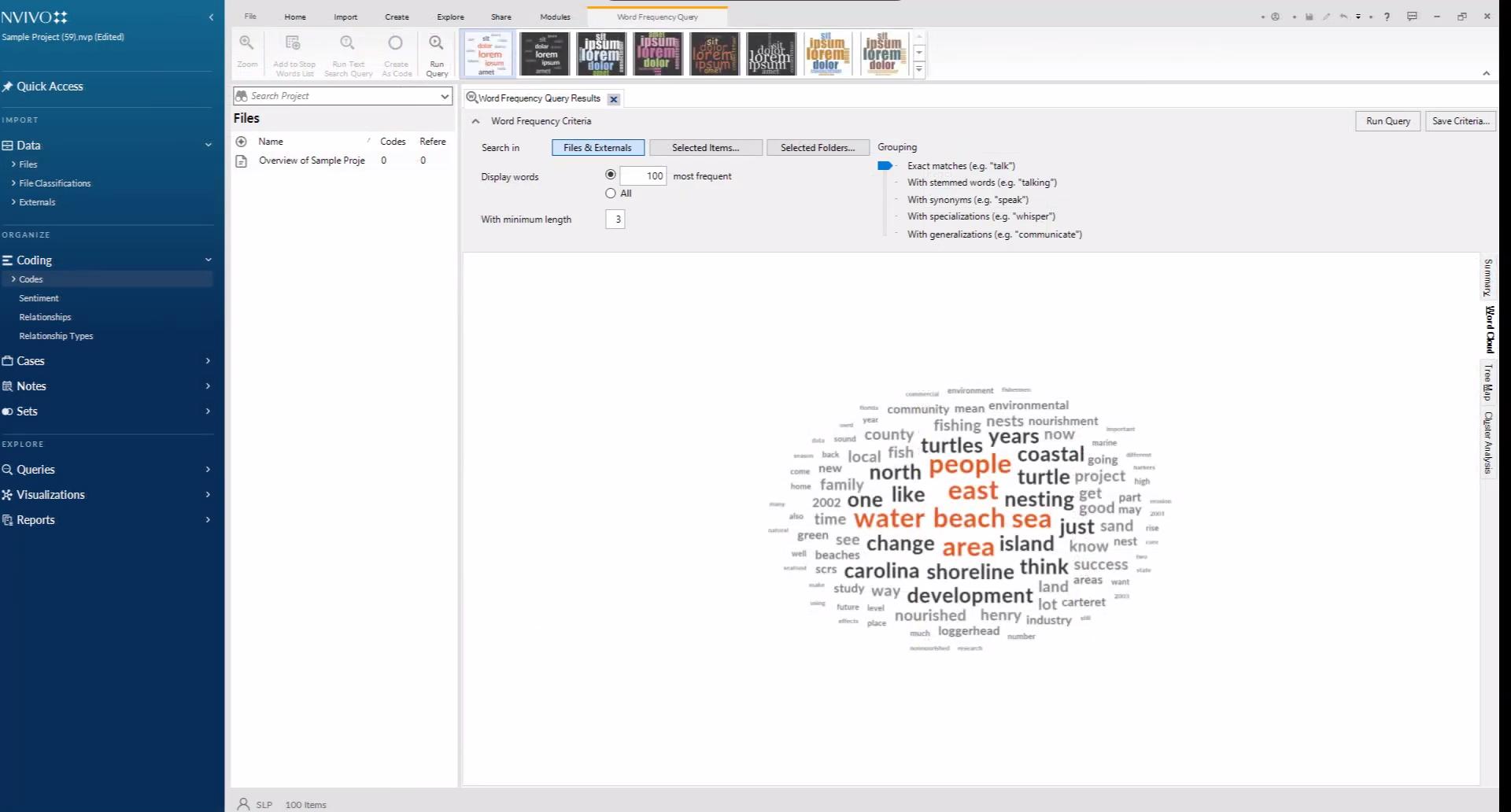 Анализ текста в виде частотного облака тегов в системе интеллектуального анализа данных NVivo