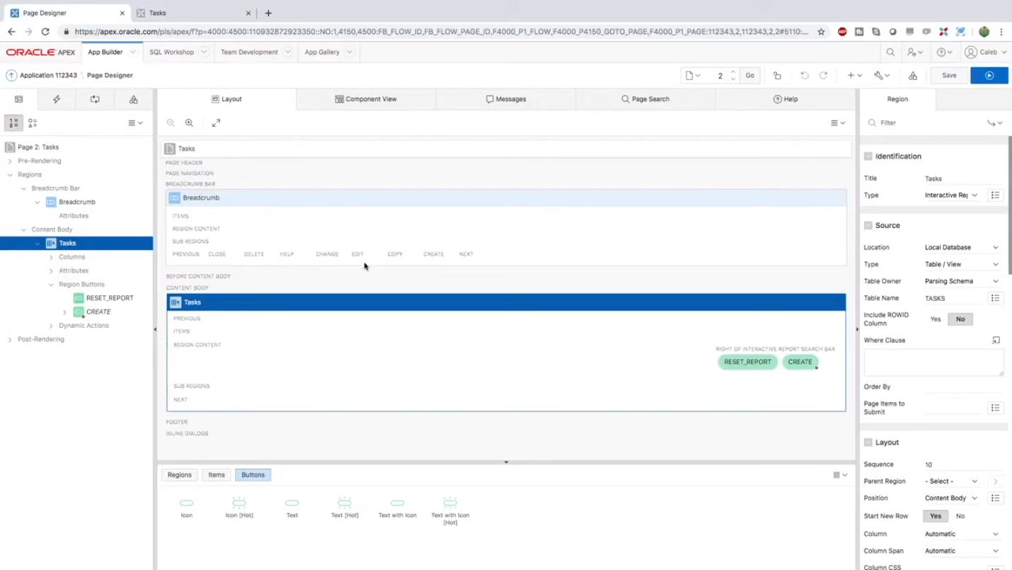 Доработка программного кода приложения в программном обеспечении Oracle APEX