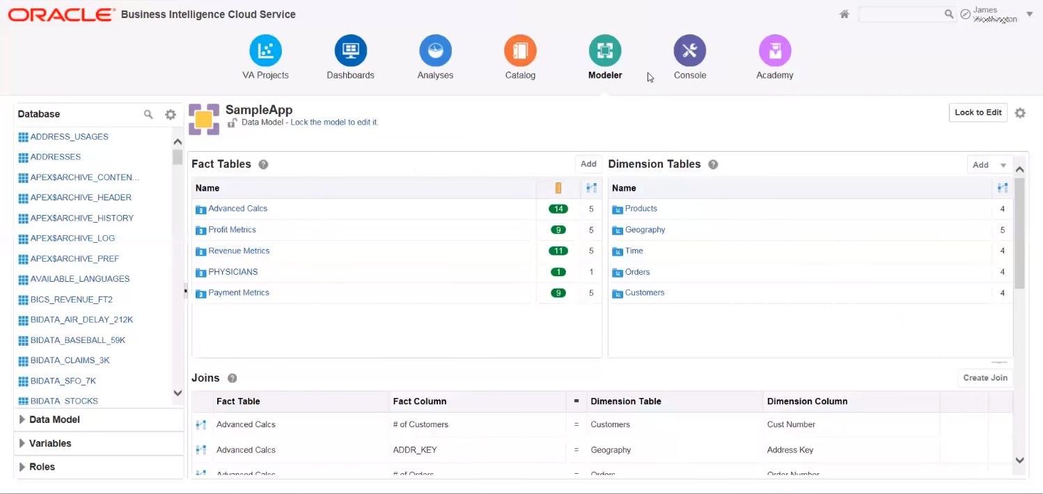 Рабочая среда для создания аналитических моделей в программном продукте Oracle BI Cloud Service
