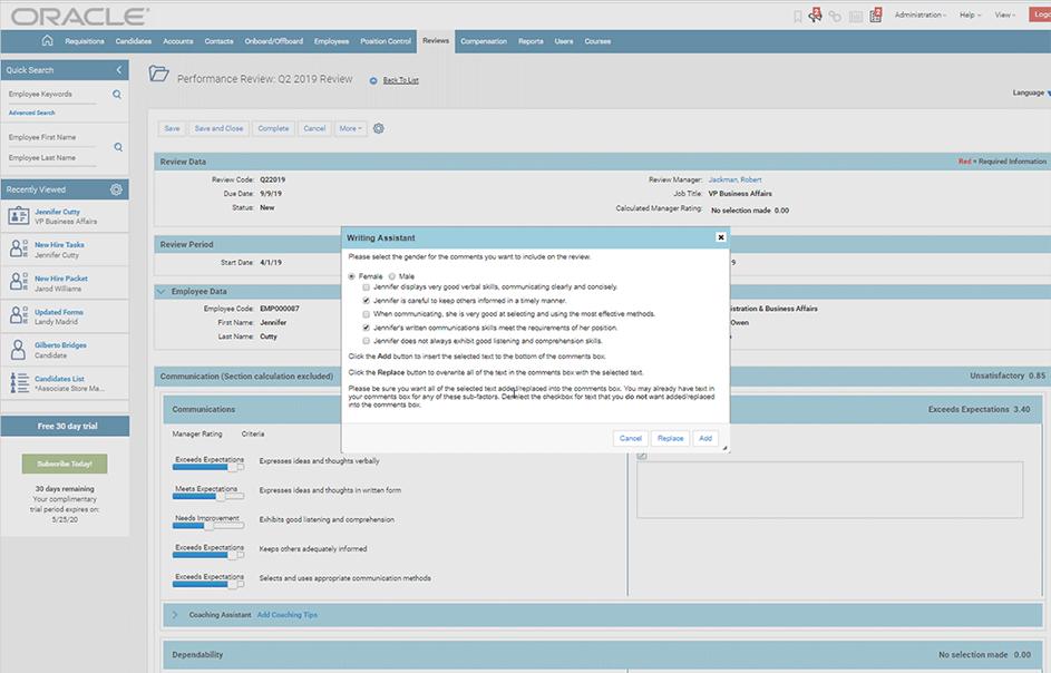 Оценка эффективности сотрудников в облачной HCM-системе для управления персоналом Oracle Taleo Cloud
