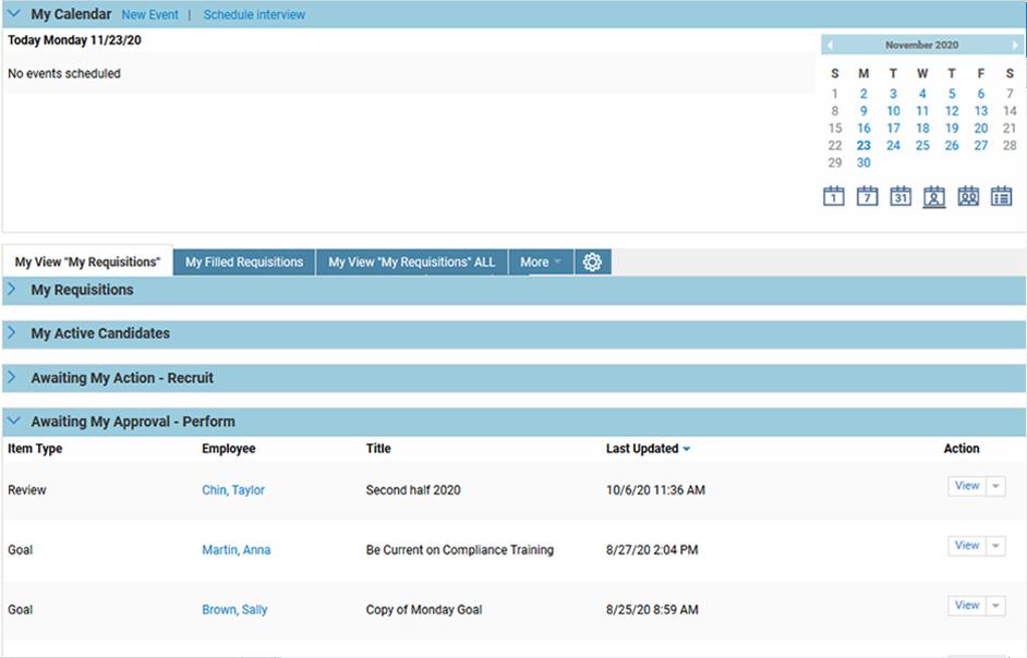 Планирование работы рекрутеров по подбору персонала в программном обеспечении Oracle Taleo Cloud