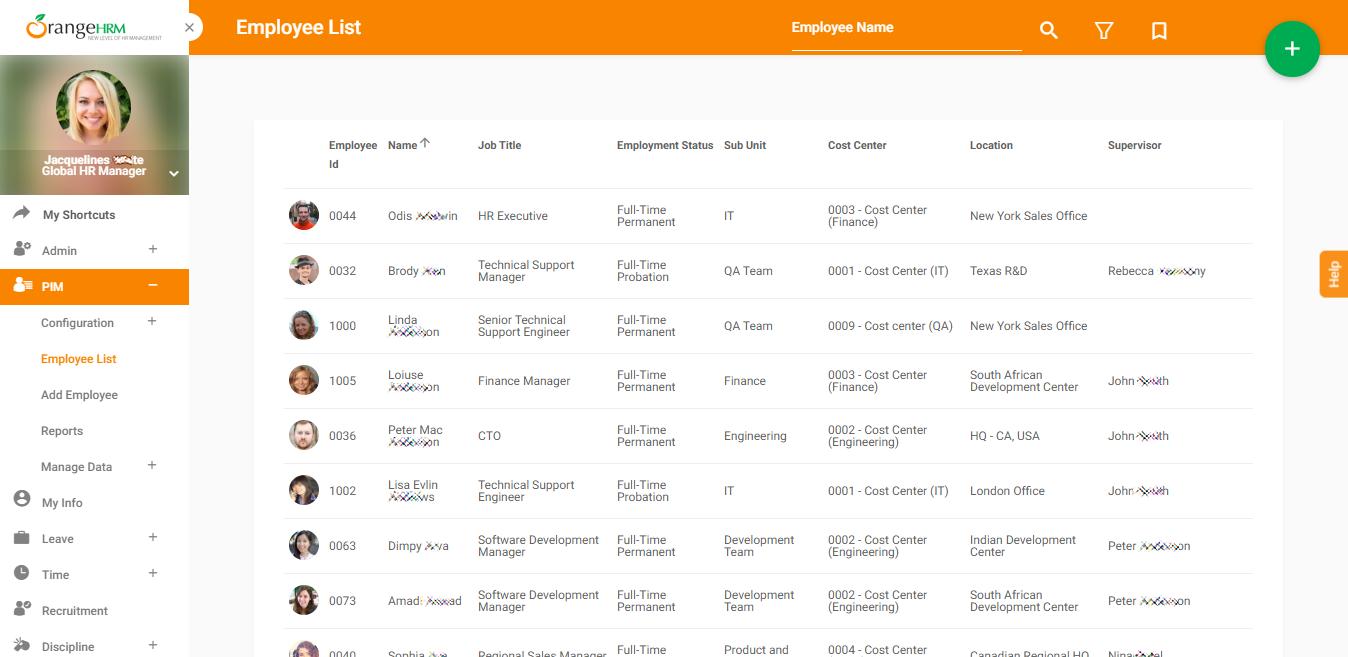 Список сотрудников компании в бесплатном программном обеспечении для управления человеческими ресурсами (HRM) OrangeHRM