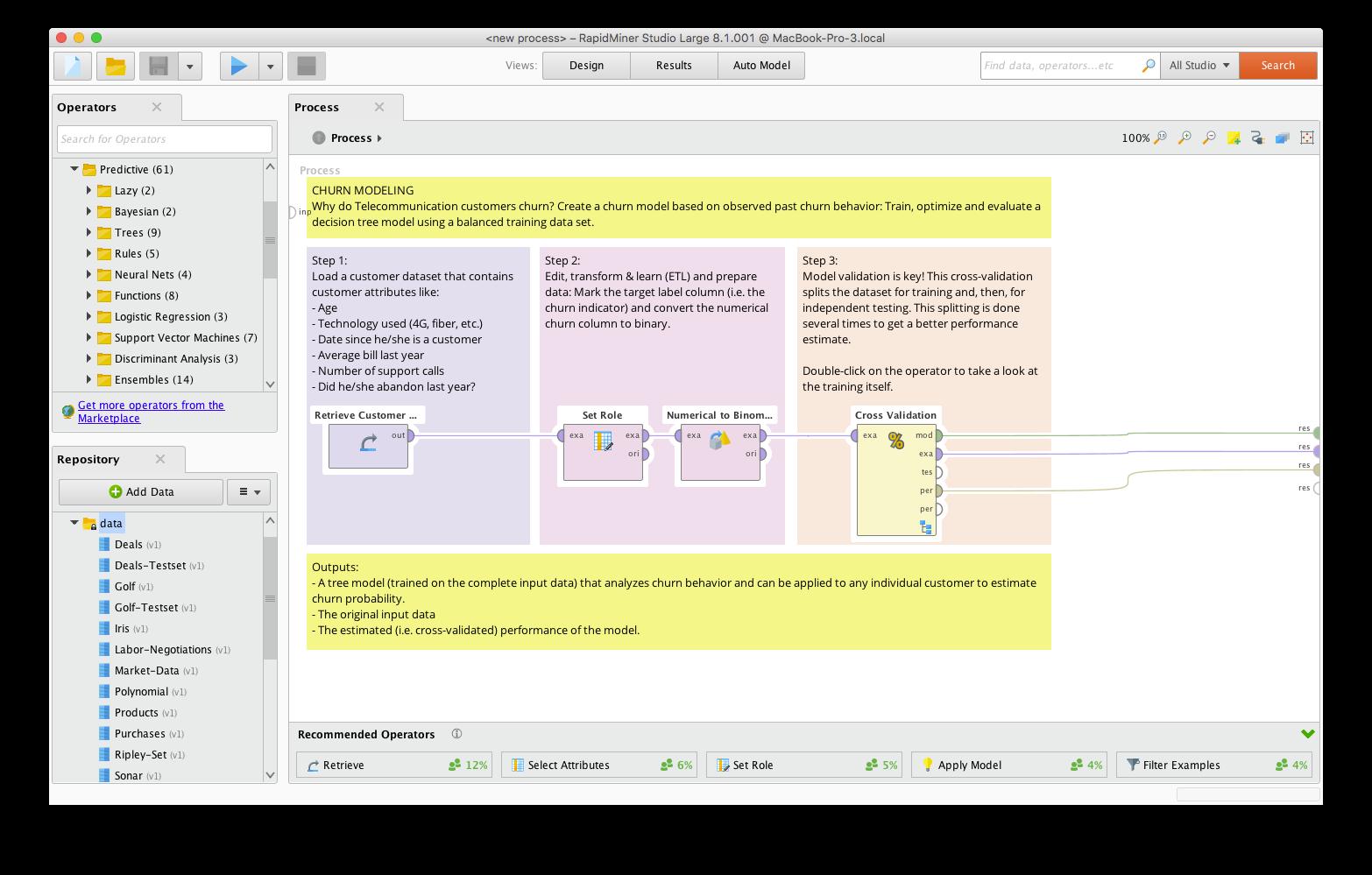 Построение модели поточной аналитики в программном обеспечении RapidMiner