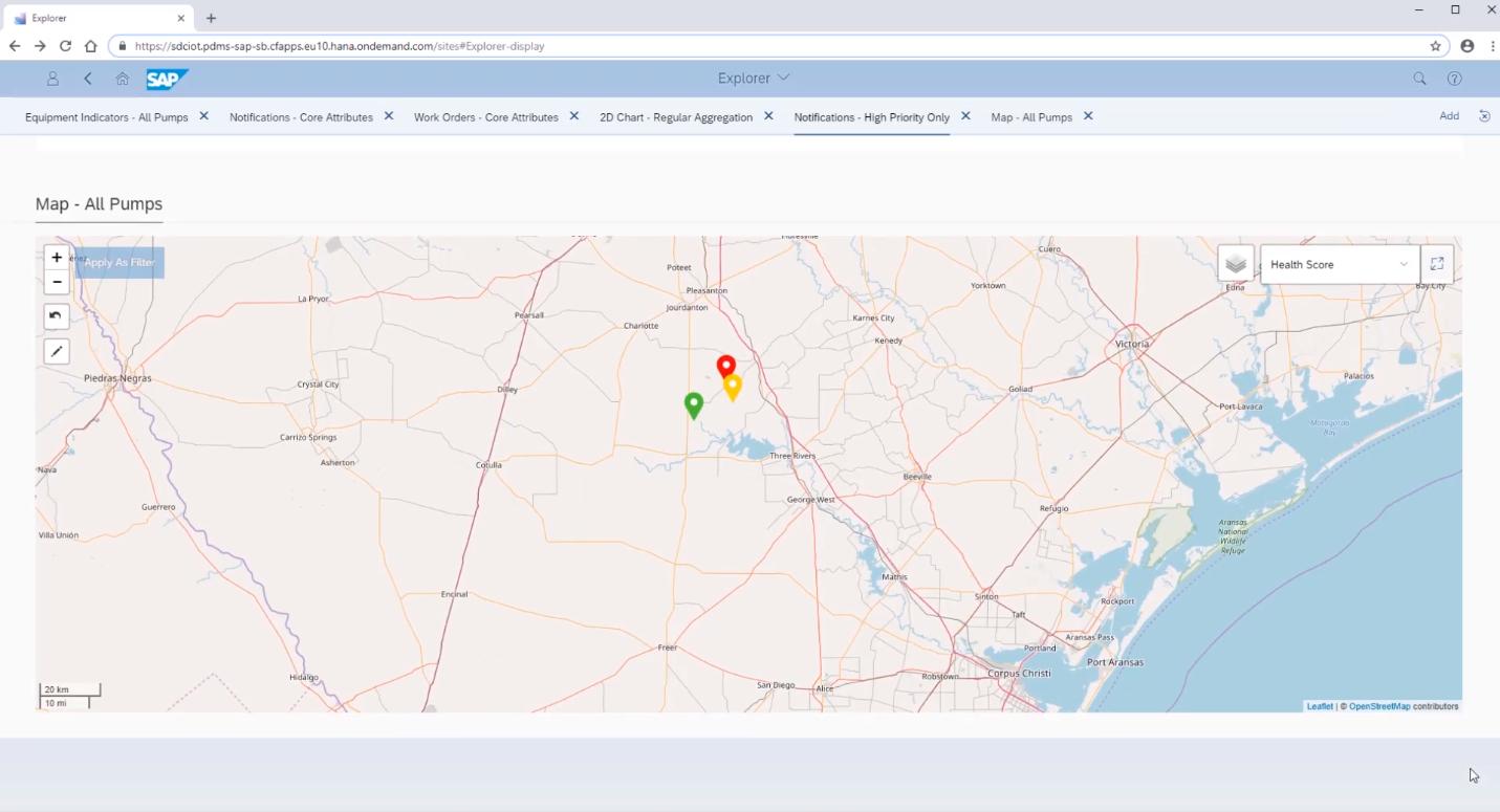 Оборудование на карте в программном продукте SAP Predictive Maintenance and Service