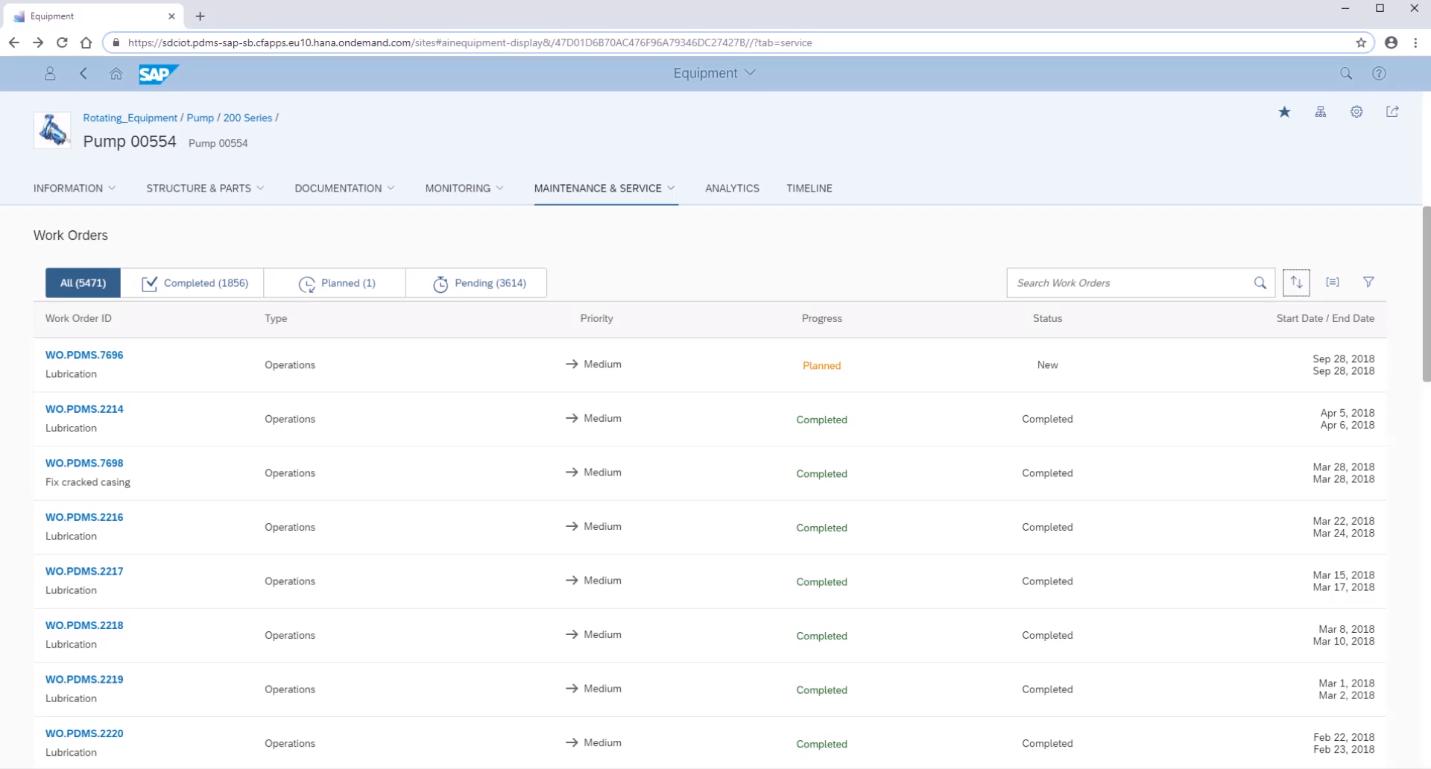 Просмотр истории работ по техническому обслуживанию в сервисе SAP PdMS