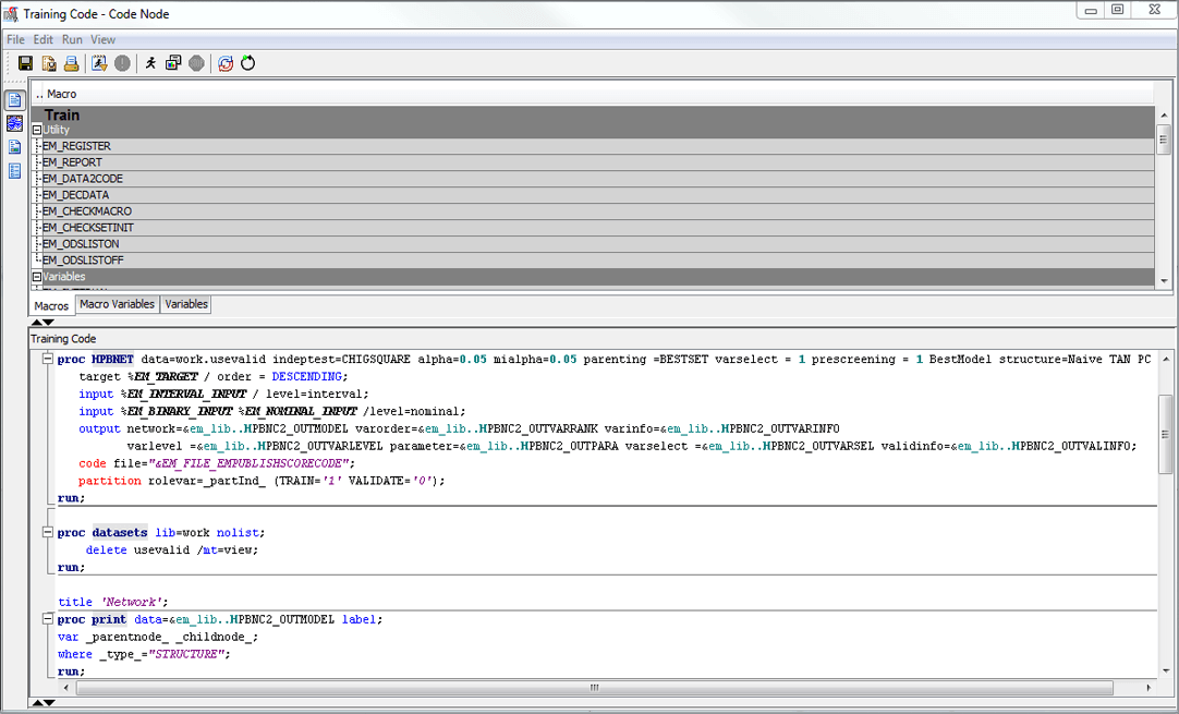 Программный код с аналитической модели в программном продукте для исследования данных SAS Enterprise Miner