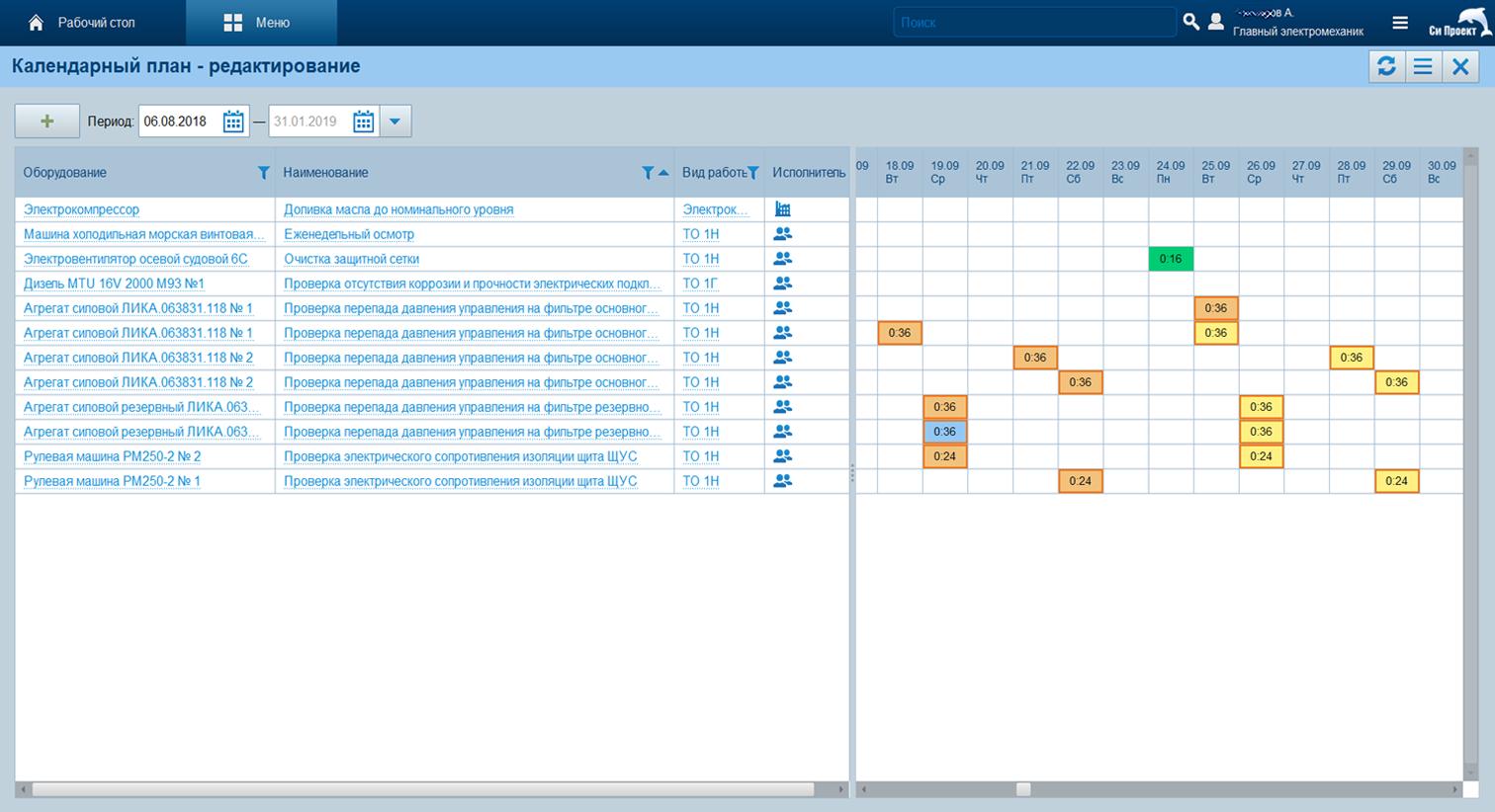 Календарный план технического обслуживания и ремонта в программном продукте Seascape