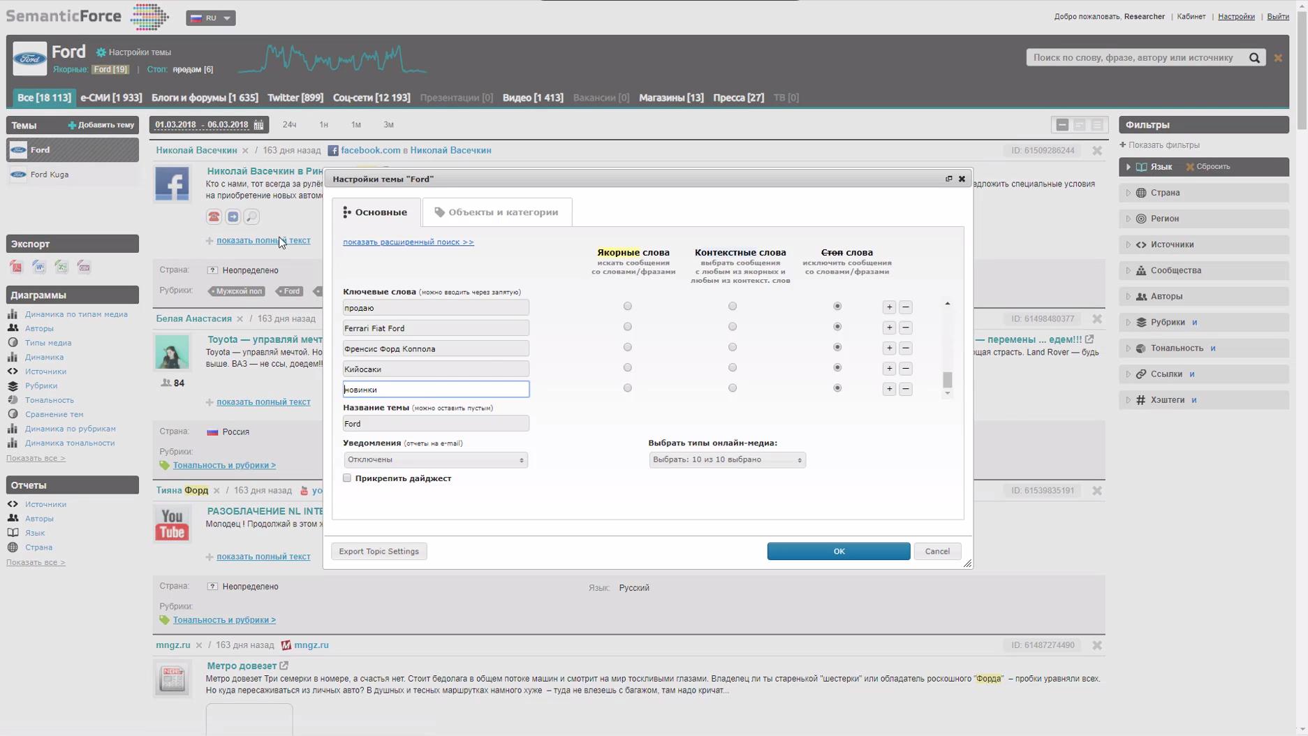 Настройка тем и сюжетов для анализа и мониторинга в программном обеспечении для PR SemanticForce