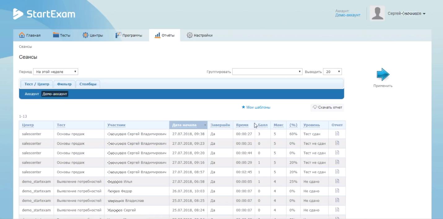 Отчёты о результатах прохождения тестов в программном обеспечении для тестов и проверок StartExam