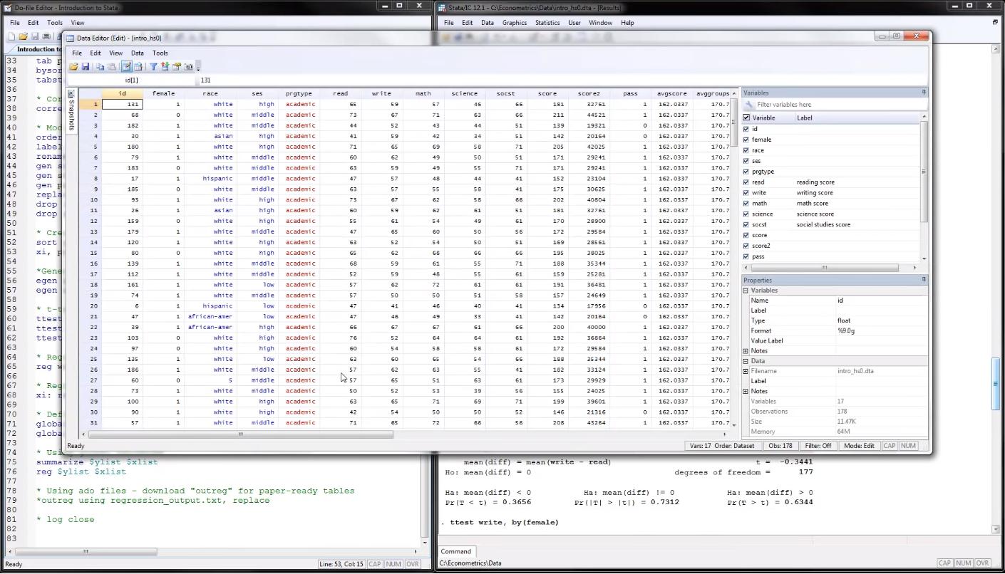 Работа с таблицей данных в исследовательском программном обеспечении Stata от компании StataCorp