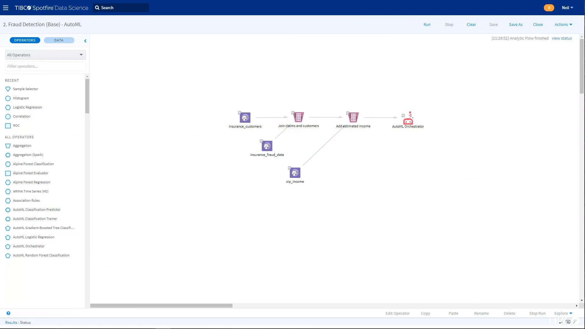 Построение модели для поточного анализа больших данных в программе TIBCO Data Science