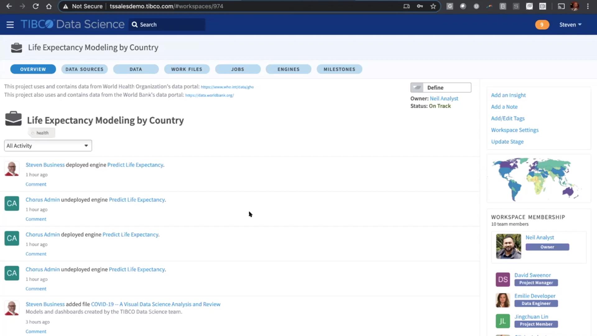 Главное меню в программном обеспечении TIBCO Data Science