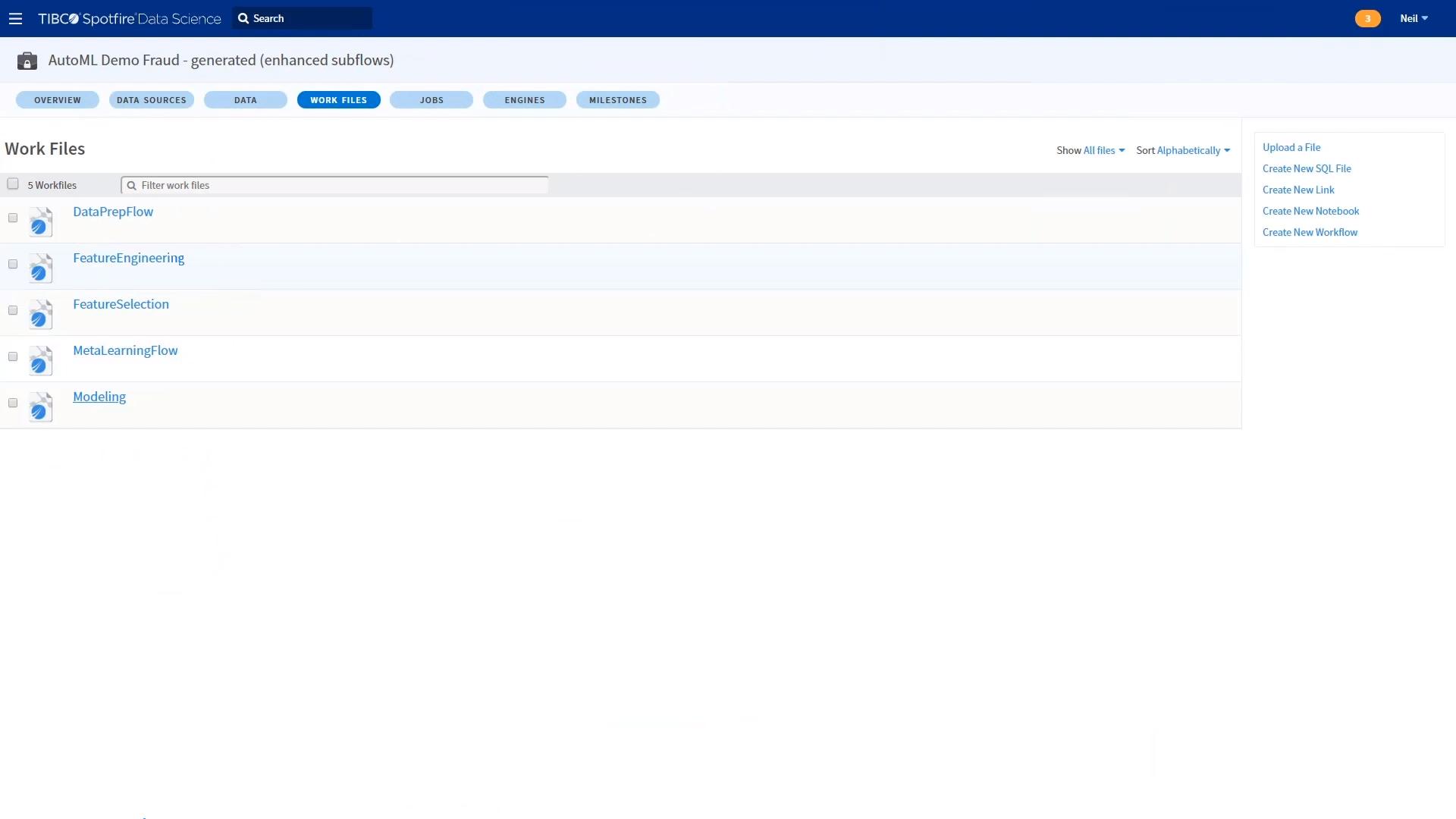 Каталог рабочих файлов данных в программной системе ТИБКО Дата Сайнс