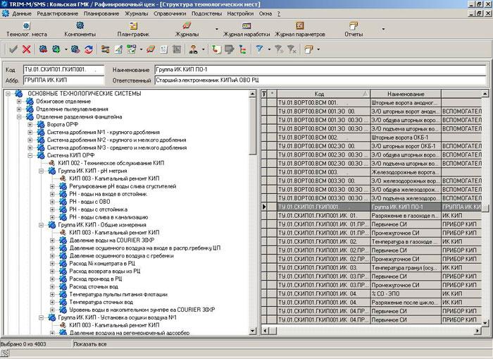 Иерархическая структура объекта (структура технологических мест) в EAM-систем TRIM