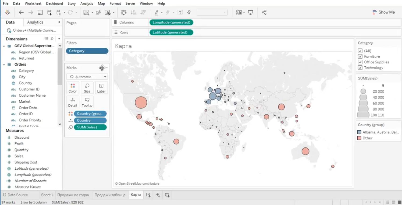 Применение аналитических карт в БА-системе Табло Десктоп