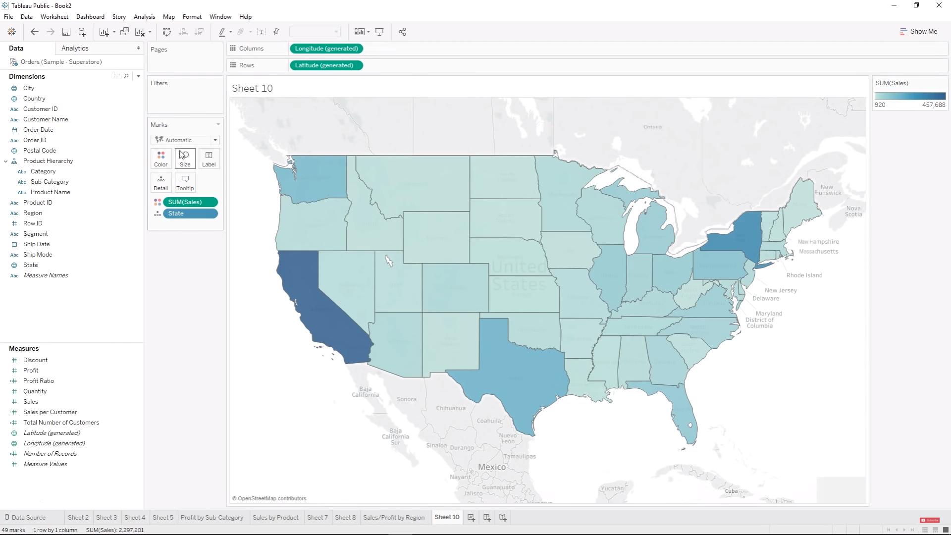 Применение аналитических карт в БА-системе Tableau Public
